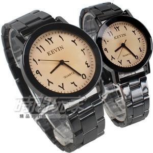 KEVIN 造型時刻 流行錶 立體多角切割鏡面 學生錶 防水手錶 IP黑電鍍 對錶 KV2075白大+KV2075白小