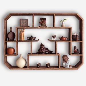 茶壺茶具架子置物架紫砂壺展示架壁掛牆上客廳裝飾博古架實木中式 ATF 童趣潮品