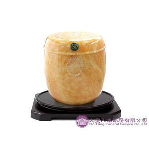 【大堂人本】黃玉 心經鑲水晶鑽(佛蓋冬瓜) 特級骨灰罐