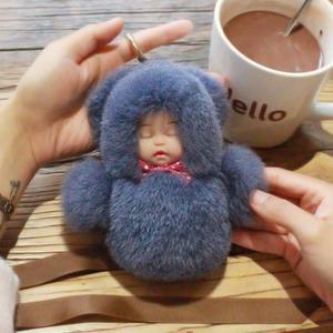 可愛睡眠寶寶鑰匙扣女創意睡萌娃娃汽車鑰匙鍊獺兔毛絨包掛飾【無敵3C旗艦店】