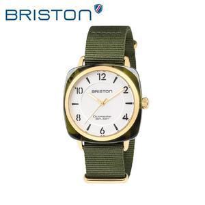 BRISTON 手錶 原廠總代理18536 PYA YG 2 NGA 白綠搭配 前衛設計 時尚帆布錶帶 男女 生日情人節禮物