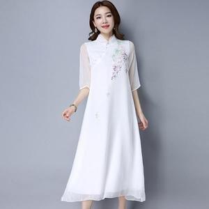 洋裝 原創文藝復古禪茶服提花手工改良旗袍長袍子 迪澳安娜