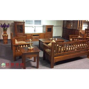 【大熊傢俱】柚木圓柱組椅 柚木組椅 實木組椅 客廳組椅 木製沙發 實木椅子 實體店