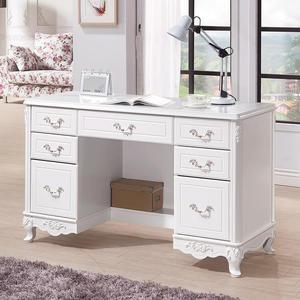 【森可家居】溫妮莎歐風4.2尺書桌 8HY485-04 白色 法式古典鄉村風 公主宮廷風 兼化妝台 MIT台灣製造