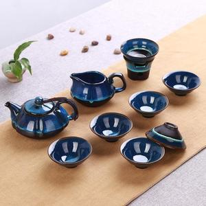 店長推薦整套陶瓷天目油滴藍珀釉蓋碗功夫茶具窯變建盞套裝品茗杯茶杯茶壺