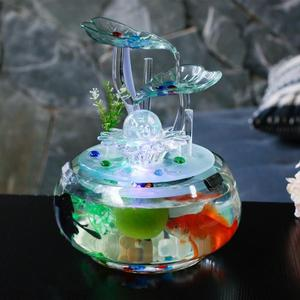 魚缸客廳辦公桌面創意小型迷你圓形透明生態玻璃擺件風水流水族箱 mks免運 生活主義