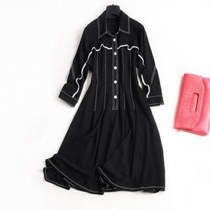 連身裙-雪紡七分袖撞色包邊蝙蝠袖俐落大方女洋裝73qz58[巴黎精品]