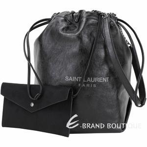 YSL Saint Laurent TEDDY 揉製小牛皮束口水桶包(黑色) 1930160-01