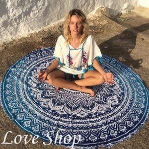 【Love Shop】歐美印度花 漸變色 陽光海灘玩水薄沙灘巾 沙灘墊 海灘浴巾