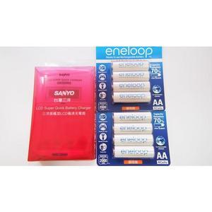 全館免運費【電池天地】SANLUX 三洋LCD極速充電器 SYNC-LS01+國際牌 eneloop 3號鎳氫低自放充電電池(8顆)