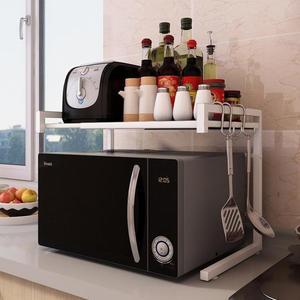 可伸縮廚房置物架微波爐架電器烤箱架雙層調味料架落地收納省空間