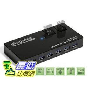 [美國直購] Plugable USB3-HUB10C2 10孔 集線器 USB 3.0 SuperSpeed Hub with 48W Power Adapter and Two Flip-Up Ports