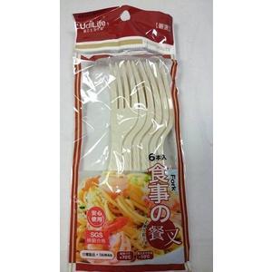 【台灣製造 餐叉6入】095731 塑膠餐具 叉子 免洗餐具 烤肉用品 免洗用具【八八八】e網購