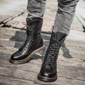 馬丁靴男英倫皮靴秋季高筒軍靴男防水長筒靴子男士潮流馬丁鞋  情人節禮物