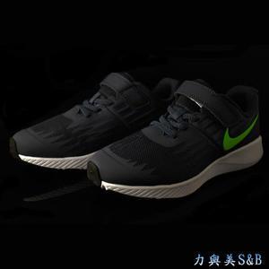 【幼童鞋】NIKE 童慢跑鞋 單片魔鬼氈設計裝飾性鞋帶 輕量舒適好穿 藍黑色鞋面+銀光綠LOGO  【7700】