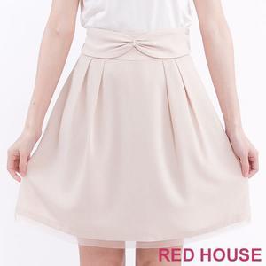 RED HOUSE-蕾赫斯-可拆式蝴蝶結鬆緊A字裙(淺卡其)