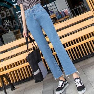 牛仔寬褲 直筒女寬松復古正韓高腰九分褲 艾米潮品館