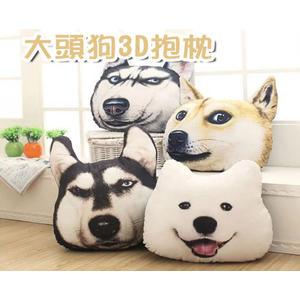 【葉子小舖】(臉長40公分)大頭狗3D創意抱枕/薩摩神煩哈士奇/喵星人汪星人//沙發靠枕