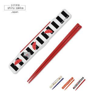 環保餐具-日本製MOOMIN嚕嚕米翻蓋式隨身環保筷子-紅色-玄衣美舖