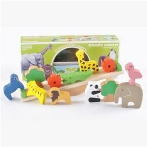 日本木製玩具 動物蹺蹺板平衡木 寶寶早教疊疊高積木- 預購