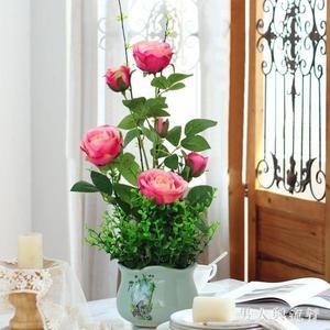 玫瑰花假花仿真花盆栽套裝擺件家居客廳室內電視櫃盆景裝飾花擺設 FF271【男人與流行】