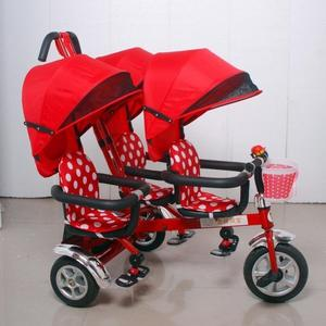 三胎嬰兒手推車雙人車二胎神器三胞胎三人座童車三輪車腳踏車推車