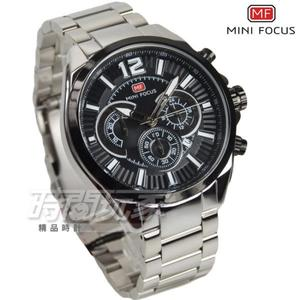 MINI FOCUS 大錶徑真三眼流行男錶 計時碼錶 日期視窗 防水手錶 學生錶 黑 MF0104G-04