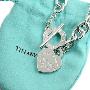 Tiffany&Co.正品 全新 Tiffany&Co. Return to Tiffany 經典刻字愛心純銀T字扣手鍊