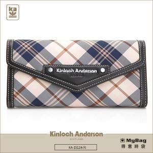 Kinloch Anderson 金安德森 皮夾 英式學院 黑色 經典格紋長夾 牛皮女夾 KA151202  MyBag得意時袋