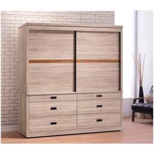 【森可家居】舒活6x7尺衣櫥(六抽) 8JX335-7 衣櫃 左右推拉門 木紋質感 MIT