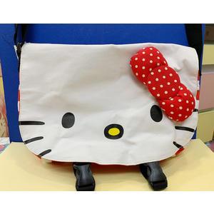 【震撼精品百貨】Hello Kitty 凱蒂貓~KITTY斜背包/側背包-大臉紅白條紋#45747
