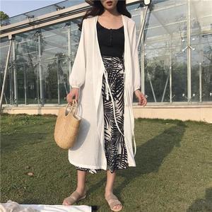 涼感上衣海邊度假防曬衣女中長版外搭外套寬鬆透氣超長薄款長袖雪紡女開衫
