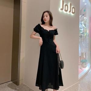 洋裝 韓版 婚禮小禮服 法式復古黑色短袖長裙中長款連身裙 花漾小姐【預購】