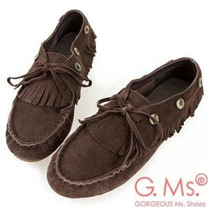 G.Ms. 牛麂皮綁帶流蘇休閒豆豆鞋-咖啡