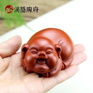 紫砂茶寵 全手工朱泥福氣豬 生肖福豬茶玩雕塑擺件