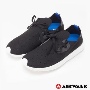 AIRWALK(男) - 絕對輕量 純色洞洞柔軟EVA綁帶休閒鞋 - 黑