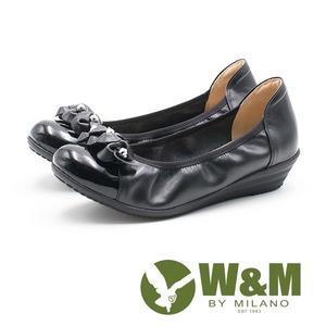W&M  淑女水鑽 彈力帶牛皮低跟鞋 女鞋-黑(另有藕紫色)