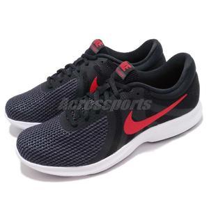 Nike 慢跑鞋 Revolution 4 黑 紅 白底 低筒 路跑 運動鞋 男鞋【PUMP306】 908988-011