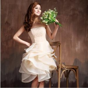 ♥ 俏魔女美人館 ♥ 出租禮服 新款女蕾絲連衣裙新娘結婚紗晚裝短款蓬蓬裙香檳色伴娘小禮服綁帶