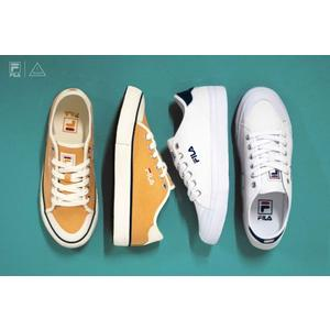 ISNEAKERS FILA CLASSIC KICKS 經典款 帆布鞋 開口笑 復古 白色 土黃 女鞋
