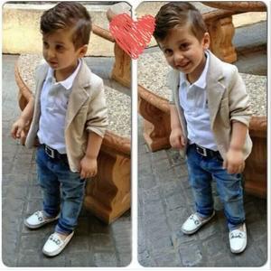 男童米色西裝外套 單寧中小童牛仔褲 純白polo衫童裝 SK136 好娃娃