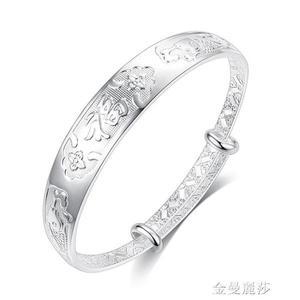 老鳳祥云銀手鐲s999純銀鐲子女送媽媽龍鳳福老人銀首飾母親節禮物 母親節禮物