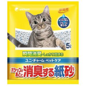 [寵樂子]《日本Unicharm嬌聯》消臭香味紙砂 (無香) - 5L / 環保貓砂可沖馬桶