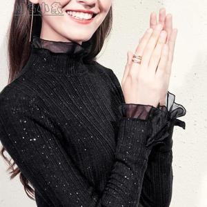 蕾絲內搭上衣-秋冬針織高領打底衫女長袖內搭歐根紗花邊領蕾絲袖上衣仙