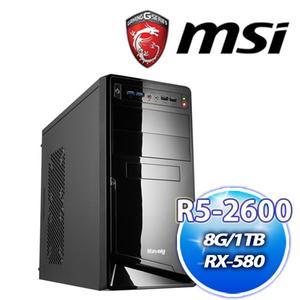 微星 B450M 平台【慈悲2號】AMD R5 2600+華碩 DUAL-RX580-O4G雪原豹電競機送DS B1【刷卡分期價】