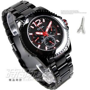 BIBA 碧寶錶 三眼多功能日期星期 IP電鍍黑不鏽鋼藍寶石水晶女錶黑色贈項鍊 B35BS010H 防水手錶
