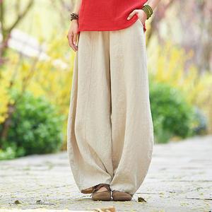 春夏棉麻燈籠褲子女寬鬆大碼復古苧亞麻長褲打坐修禪太極褲