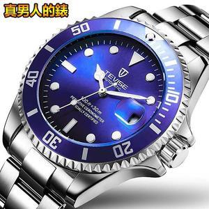 【美國熊】極致工藝 日期顯示 不鏽鋼錶帶機械腕錶 綠水鬼 生日禮物 ROLEX同款[TEV-66]