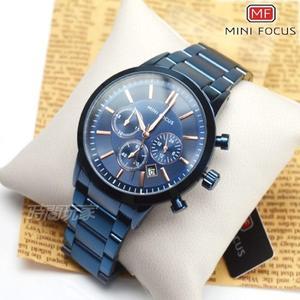 MINI FOCUS 真三眼流行男錶 日期視窗 防水手錶 學生錶 藍色電鍍 MF0188藍