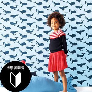 兒童房壁紙 小鯨魚圖案 rasch(德國壁紙) 2020/531503,531510+施工道具套餐